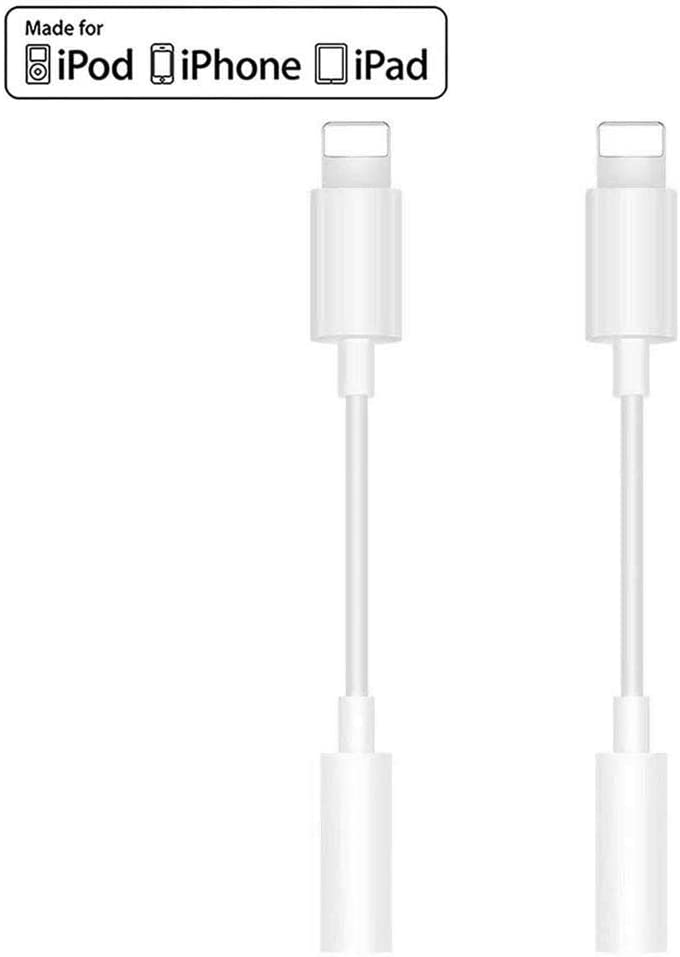 Apple MFi Certified Support iOS 13 /& Music Control /& Calling Function Headphone Adapter for iPhone X 2 Pack Lightning to 3.5mm Headphone Audio Connector Compatible for iPhone 11//11 Pro//XS//XR//X 8 7