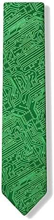 Microfiber Green Computer Science Circuit Board Geek Narrow Skinny Necktie Neck Tie Neckwear