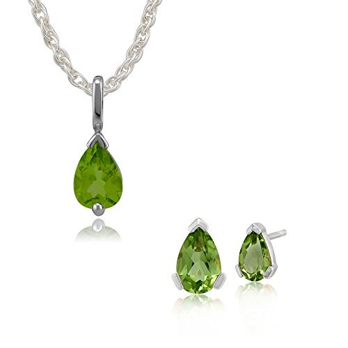 Gemondo Bague Or Blanc 9ct Coupe Poire Peridot simple Pierre Boucles d'oreille à tige et collier de 45cm de