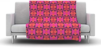 Kess InHouse Empire Ruhl A Quilt Pattern Pink Red Fleece Throw Blanket, 80 by 60""