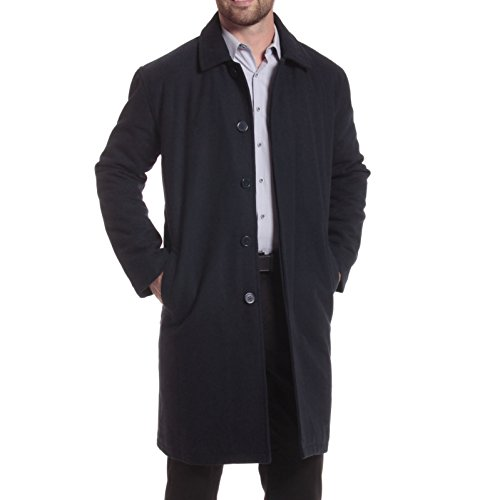 alpine swiss Zach Mens Wool Trench Coat Knee Length Overcoat Navy Sml