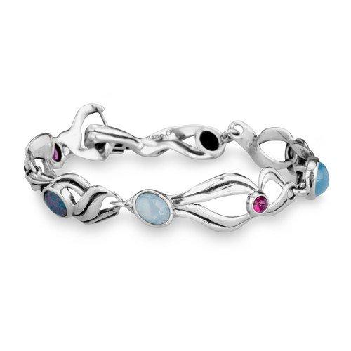 Carolyn Pollack Sterling Silver Multi Gemstone Link Bracelet, Medium by Carolyn Pollack