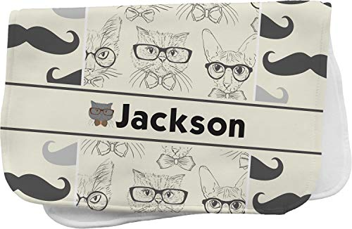 Hipster Cats & Mustache Burp Cloth (Personalized)