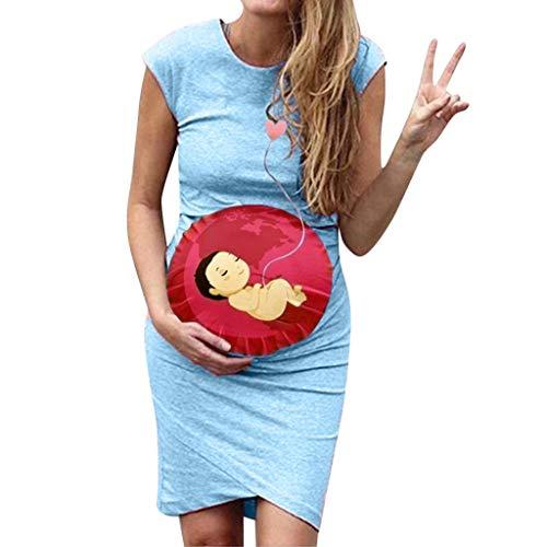 Women Sleeveless Pregnancy Maternity Dress Cartoon Print Sexy Vest Dress Blue