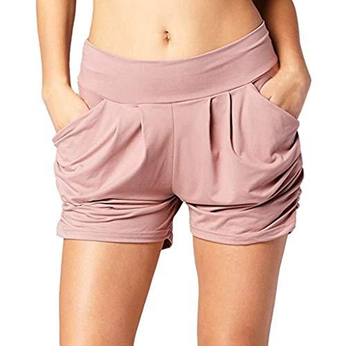 ZEFOTIM ✿ Loose Casual Shorts for Women Summer High Waist Pleated Ultra Soft Pockets Shorts Pants(Pink,Small)