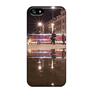 Iphone 5/5s Hard Back With Bumper Silicone Gel Tpu Case Cover Dejctr 1029 City Night Image Refraction