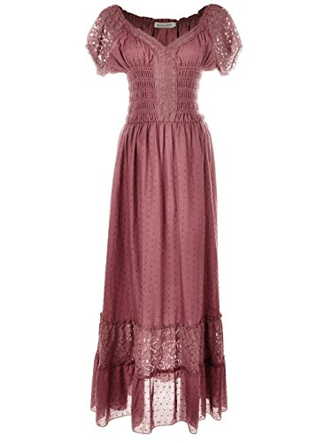 Anna-Kaci Renaissance Peasant Maiden Boho Inspired Cap Sleeve Lace Trim Dress, Pink, -