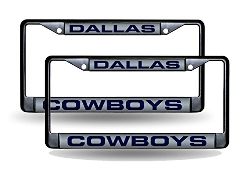 Dallas Cowboys Black Metal (2) Laser License Plate Frame Set - Dallas Cowboys Laser License Plate