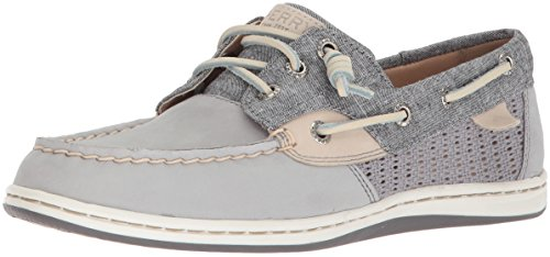 Sperry Top-Sider Women's Songfish Chambray Boat Shoe, Grey, 11 Medium US (Sperry Boat Top Sider)