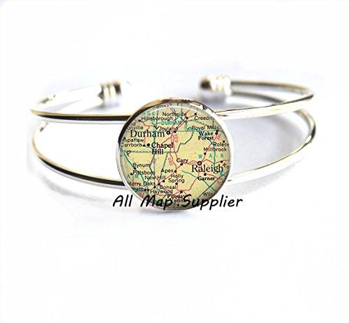 Charming Bracelet Raleigh, North Carolina map Bracelets, Durham map Bracelets, map jewelry, map - Stores Hills Raleigh North