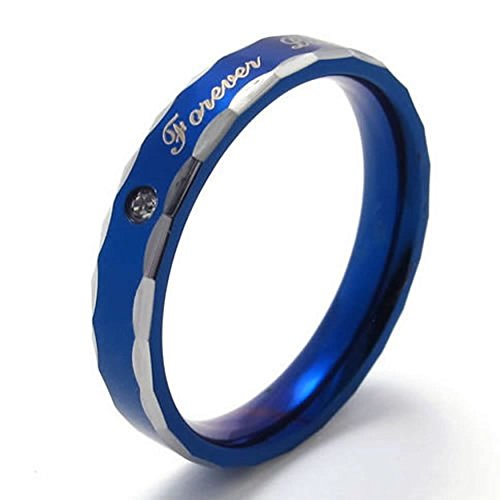 ANAZOZ Mens Womens Stainless Steel Promise Ring Lovers Wedding Bands Carved Forever Love Size 9