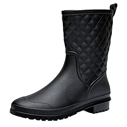 17km Womens Black Short Anti Slip Rain Boots Mid Calf Waterproof Rubber Garden Rain Shoes 7 Us Grid Black