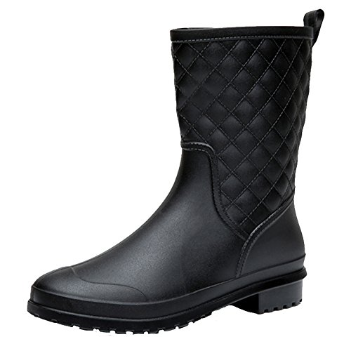 17KM Womens Black Short Anti Slip Rain Boots Mid-Calf Waterproof Rubber Garden Rain Shoes 5 US, Grid ()