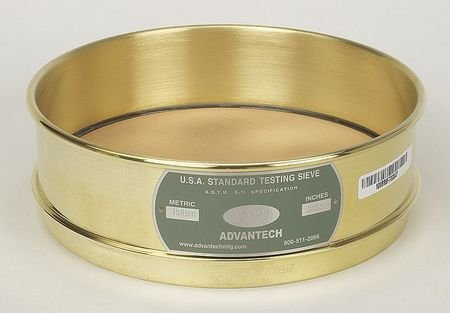 Image of ADVANTECH MANUFACTURING 400BB8F Brass Frame Wire Cloth Test Sieve, 8' Diameter, 400 Mesh Size, Full Sieve Height Sieves