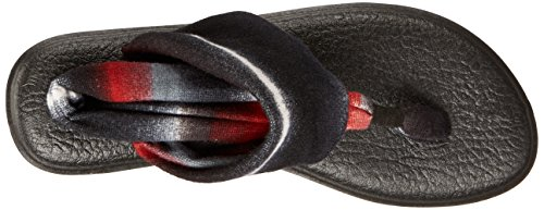 Sanuk Yoga Sling#2 Prints, Chanclas Para Mujer Negro/rojo (Black/Multi/Blanket Red)