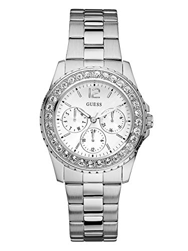 GUESS Factory Women's Silver-Tone Multifunction Watch (Rhinestone Guess Watch)
