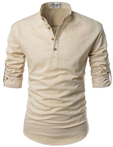 NEARKIN NKNKN350 Beloved Men Henley Neck Long Sleeve Daily Look Linen Shirts Beige US XL(Tag Size XL)