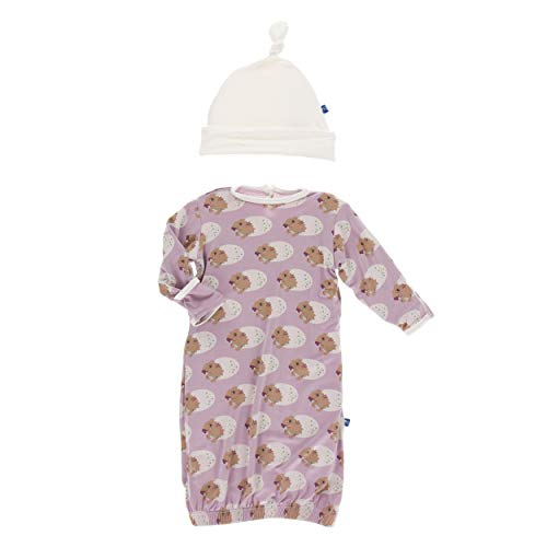 Kickee Pants Little Girls Print Gown & Single Knot Hat Set - Sweet Pea Diictodon, 0-3 Months]()