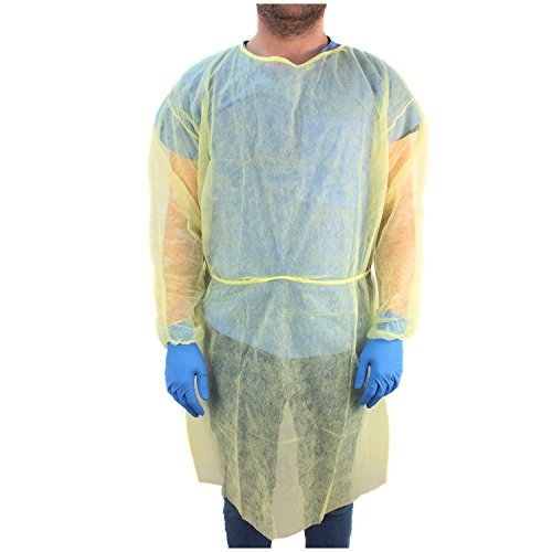 Ever Ready First Aid DYN2141-X10 Isolation Gown with Elastic Wrists, Universal Quantity, Yellow (Pack of 10) by Ever Ready First Aid