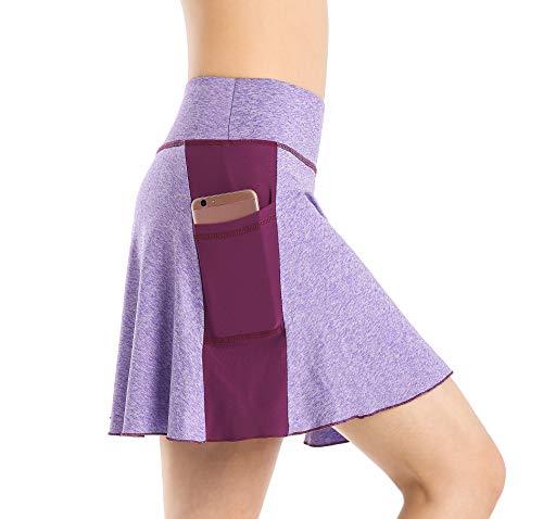 Nidalee Women's Tennis Golf Skort Active Athletic Sports Running Skirt with Pocket (Purple, S)