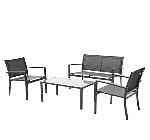 Outdoor/Indoor Garden Patio 4PC Seat Lawn Steel Frame Chair Sofa Furniture Set (Carolina Mart Furniture)