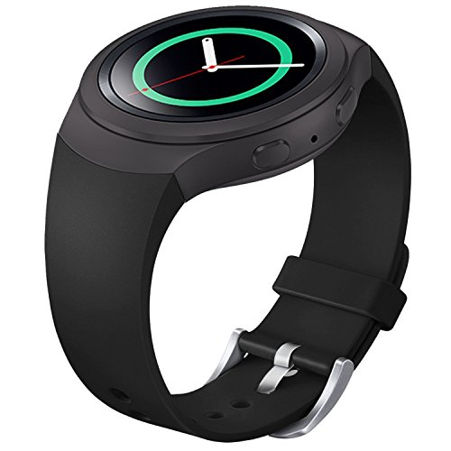 (FanTEK Band for Samsung Gear S2 - Soft Silicone Sports Style Replacement Strap Work for Samsung Gear S2 Smart Watch SM-R720 SM-R730 Version Only (Black) )