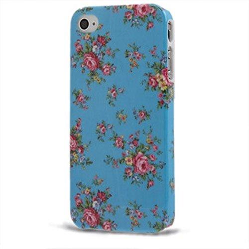 Etui coque rigide pour téléphone portable iPhone 4& 4S roses/Bleu clair