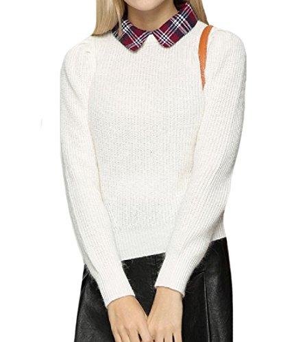 Coolred-Women Fake Two Piece Peter Pan Collar Boyfriend Sweater White (2 Piece Peter Pans)