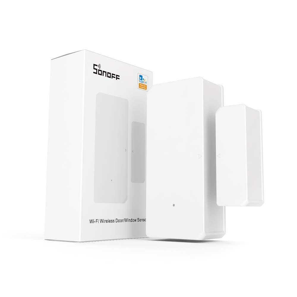 SONOFF DW2 Sensor Inalámbrico de Puerta/Ventana, Sistema de Alarma Para la Automatización de la Seguridad del hogar, No Se Requiere Otro Dispositivo Para su Funcionamiento.