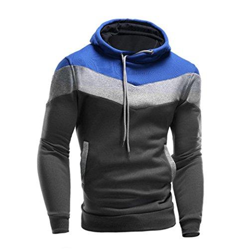 [XUANOU Men Retro Hooded Sweatshirt Long Sleeve Pullover Jacket Coat (Medium, Blue)] (Red Coat Army Costume)