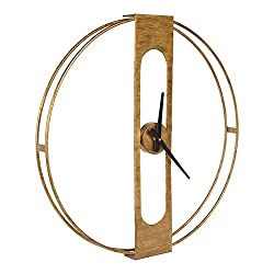 Kate and Laurel Urgo Numberless Modern Metal Wall Clock, Gold Finish with Black Hands