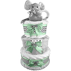 Elephant 3-Tier Diaper Cake - Baby Shower Centerpiece - Mint and Gray