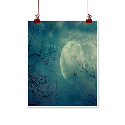 Davishouse Horror House Chinese Classical Oil Painting Halloween with Full Moon in Sky and Dead Tree Branches Evil Haunted Forest Print for Living Room Bedroom Hallway Office 16