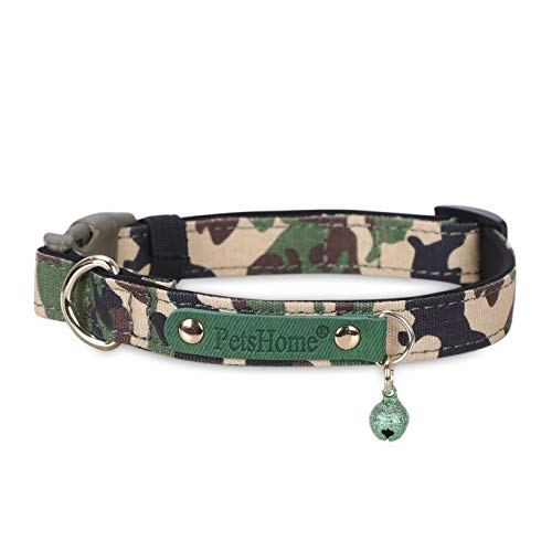PetsHome Dog Collar, Cat Collar, [Camouflage Canvas] with Quick Release Buckle Adjustable Collars for Small Dog and Cat Small Green