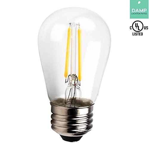 1.5w Led Spread Light - Luxrite LR21232 LED Filament S14 Light Bulb, 1.5-Watt Equivalent To 20w Incandescent S14 Bulb, Warm White 150 Lumens 2700K, 260 Beam spread degree, 15,000 Hour Life, E26 Base, 1-Pack