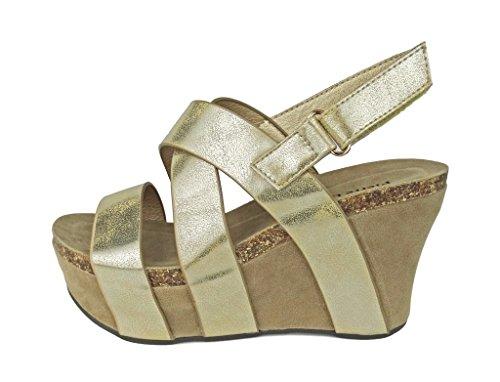 Vegan Strappy Gold Leather Sandals Pierre Women's Dumas Wedge 5 Hester qpwSPIx7Y