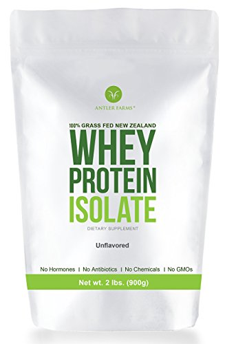 (Antler Farms - 100% Grass Fed New Zealand Whey Protein Isolate, Pure, Clean, Unflavored, 30 Servings, 2 lbs - Cold Processed, Rapidly Absorbed, Keto Friendly, NO Hormones, NO Antibiotics, NO GMOs)