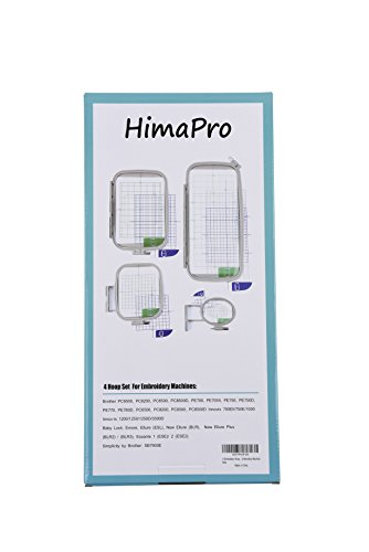 (4pc Embroidery Hoop Set for Brother Embroidery Machine PC6500, PC8200, PC8500, PC8500D, PE700, PE700II, PE750, PE750D, PE770, PE800, Innovis 1000/1200/1250D)