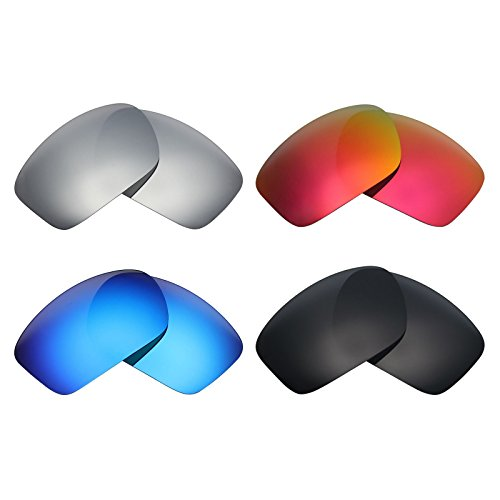 Mryok 4 Pair Polarized Replacement Lenses for Oakley Scalpel Sunglass - Stealth Black/Fire Red/Ice Blue/Silver Titanium by Mryok