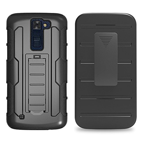 LG K8 Case, MCUK 3 Layer Shock Resistant Hybrid Armor Full Body Protective Case with Kickstand and Removable Holster Swivel Belt Clip Cover for LG K8 (LG K8)