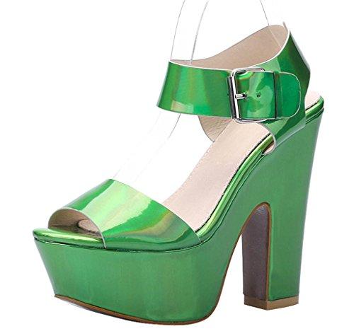 Women's Fashion Sexy Open Toe Comfort Ankle Strap Platform Block Sandal green patent pu eTssWkB6m