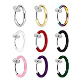 JewelrieShop Clip On Hoops, Clip On Earrings Fake Earrings Non-Piercing Spring Hoop Earrings for Sensitive Ears Fake Cartilage Earrings