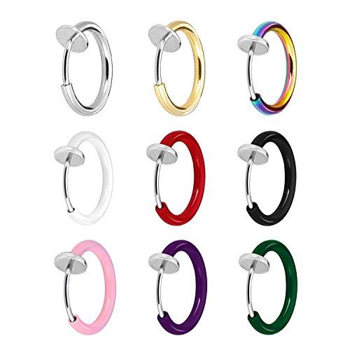 JewelrieShop Clip On Hoops, Clip On Earrings Fake Earrings Non-Piercing Spring Hoop Earrings for Sensitive Ears Fake Cartilage Earrings by JewelrieShop