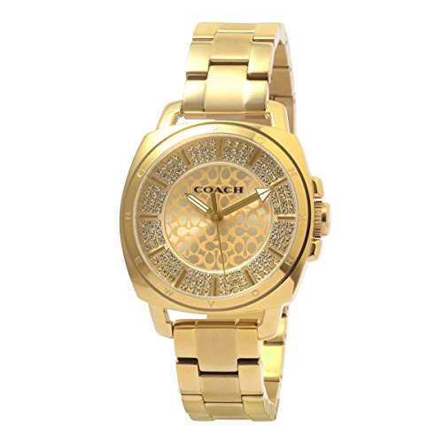 - Coach Womens 14501994 Mini Boyfriend Gold Tone Stainless Pave Crystal Glitz Watch