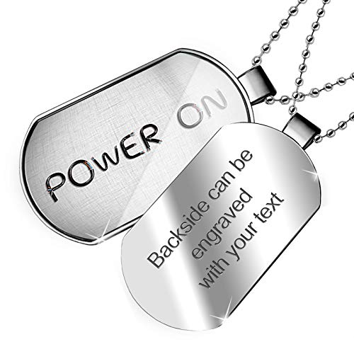 NEONBLOND Personalized Name Engraved Power On Electronics Wires and Cables Dogtag Necklace