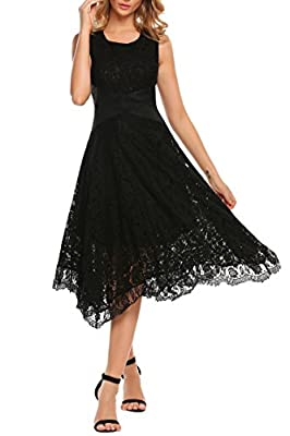 ANGVNS Women's O-Neck Sleeveless Ribbon Waisted Fit and Flare Midi Floral Lace Dress