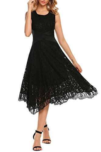 ANGVNS Women's Gorgeous Scoop Neck Sleeveless A Line Sexy Maxi Long Lace Dress Black (Gorgeous Formal Dresses)