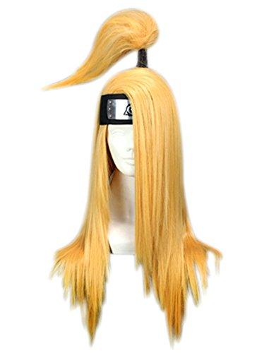 Deidara Akatsuki Costume (Halloween Anime Mens Deidara Wigs with Headband Blonde)
