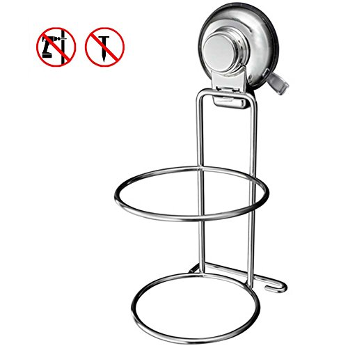 Treat Me Wall Mounted Hair Dryer Holder Stainless Steel Vacuum Suction Cup Hook Holder for Bathroom ,Bedroom