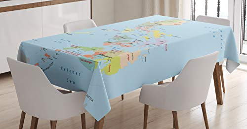 """Ambesonne Phillipine Tablecloth, Philippines Administrative Political Map Cities and Seas Cartography Themed, Rectangular Table Cover for Dining Room Kitchen Decor, 52"""" X 70"""", Ice Blue"""